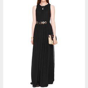 Kate Spade NWT Black Belted Chiffon Maxi Dress